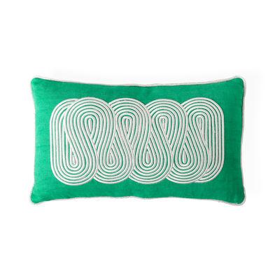 Decoration - Cushions & Poufs - Pompidou Path Cushion - / 50 x 30 cm - Linen & satin embroidery by Jonathan Adler - 50 x 30 cm / Green -  Duvet,  Plumes, dyed line, Satin