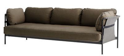 Arredamento - Divani moderni - Divano destro Can / 3 places - L 247 cm - Hay - Kaki / Struttura nera / Tessuto sui lati : grigio - Espanso, Metallo, Tessuto