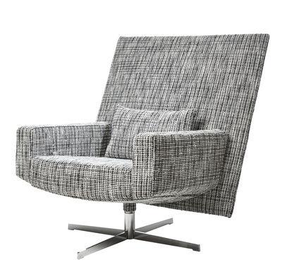Möbel - Lounge Sessel - Jackson Chair Drehsessel / Bouclé-Stoff - Moooi - Stoffbezug / schwarz & weiß - polierter Stahl, Schaumstoff, Schlingenpol