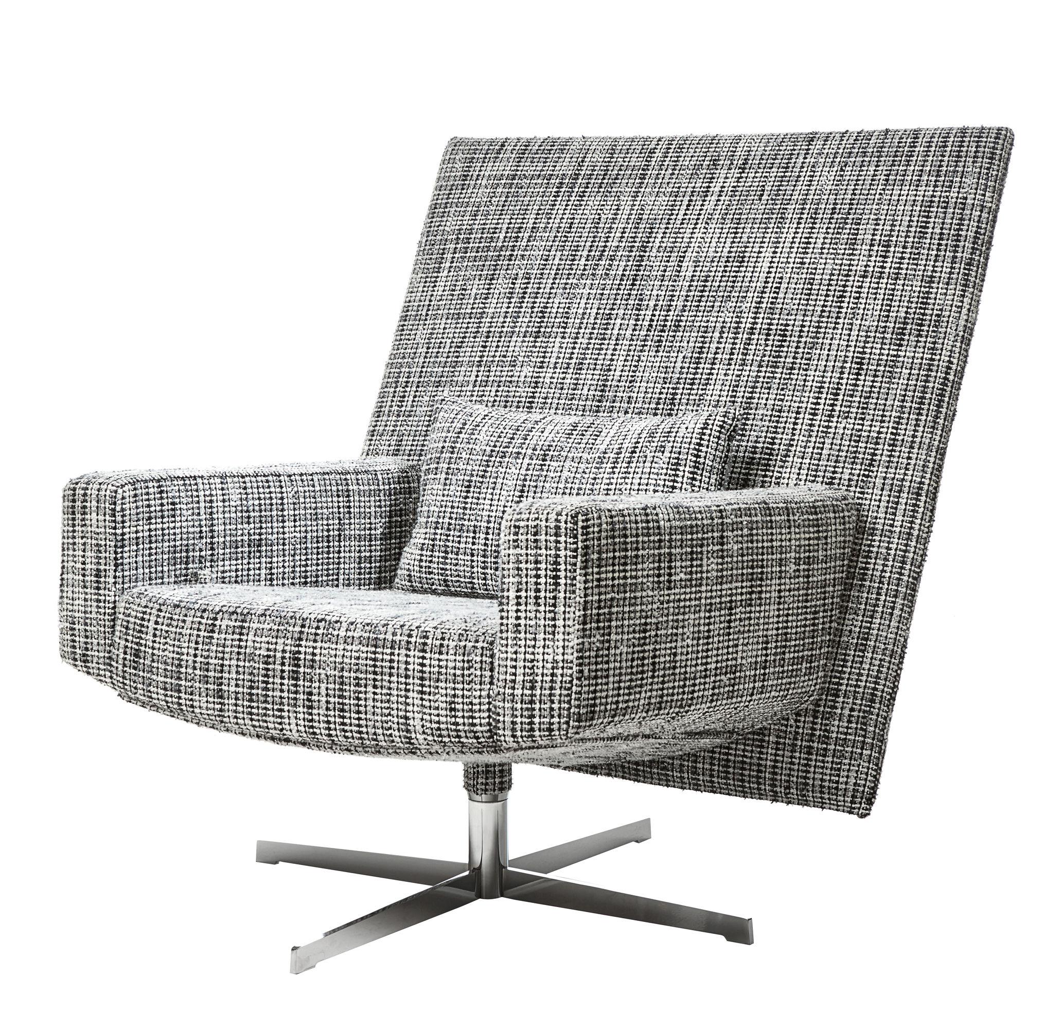 Mobilier - Fauteuils - Fauteuil pivotant Jackson Chair / Tissu bouclé - Moooi - Tissu / Noir & blanc - Acier poli, Mousse, Tissu bouclé