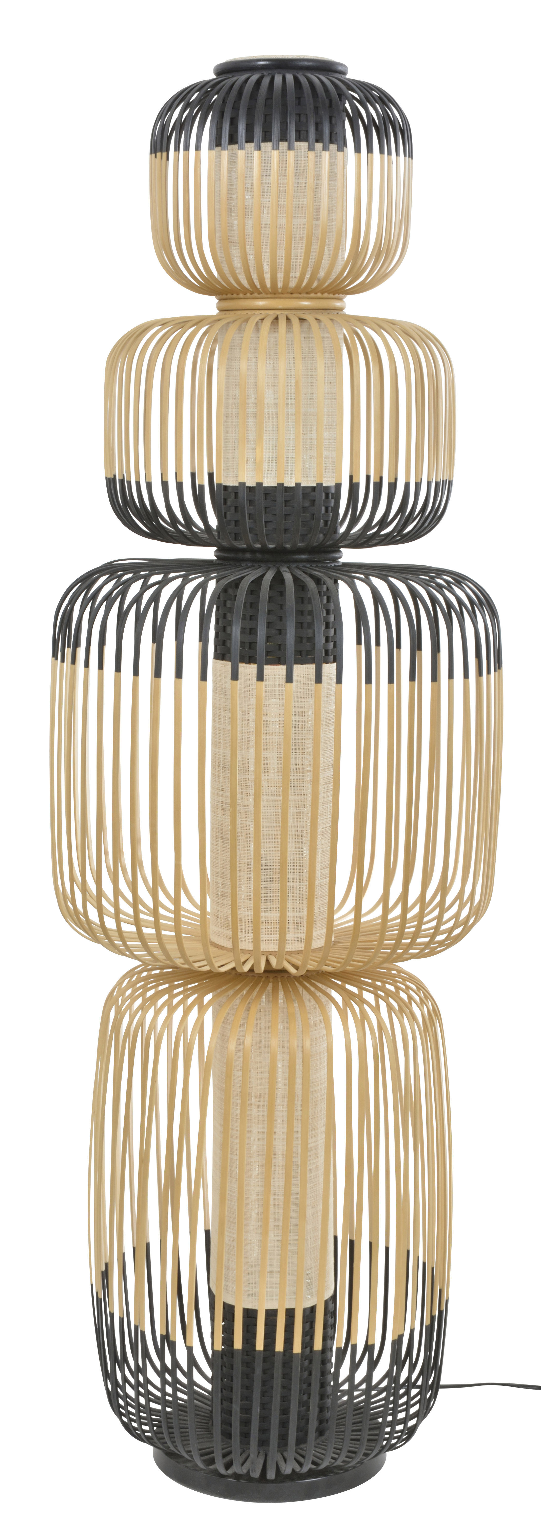 Lighting - Floor lamps - Totem Bamboo Light Floor lamp - / 4 lampshades - H 138  cm by Forestier - H 138 cm / Black & natural - Bamboo, Fabric