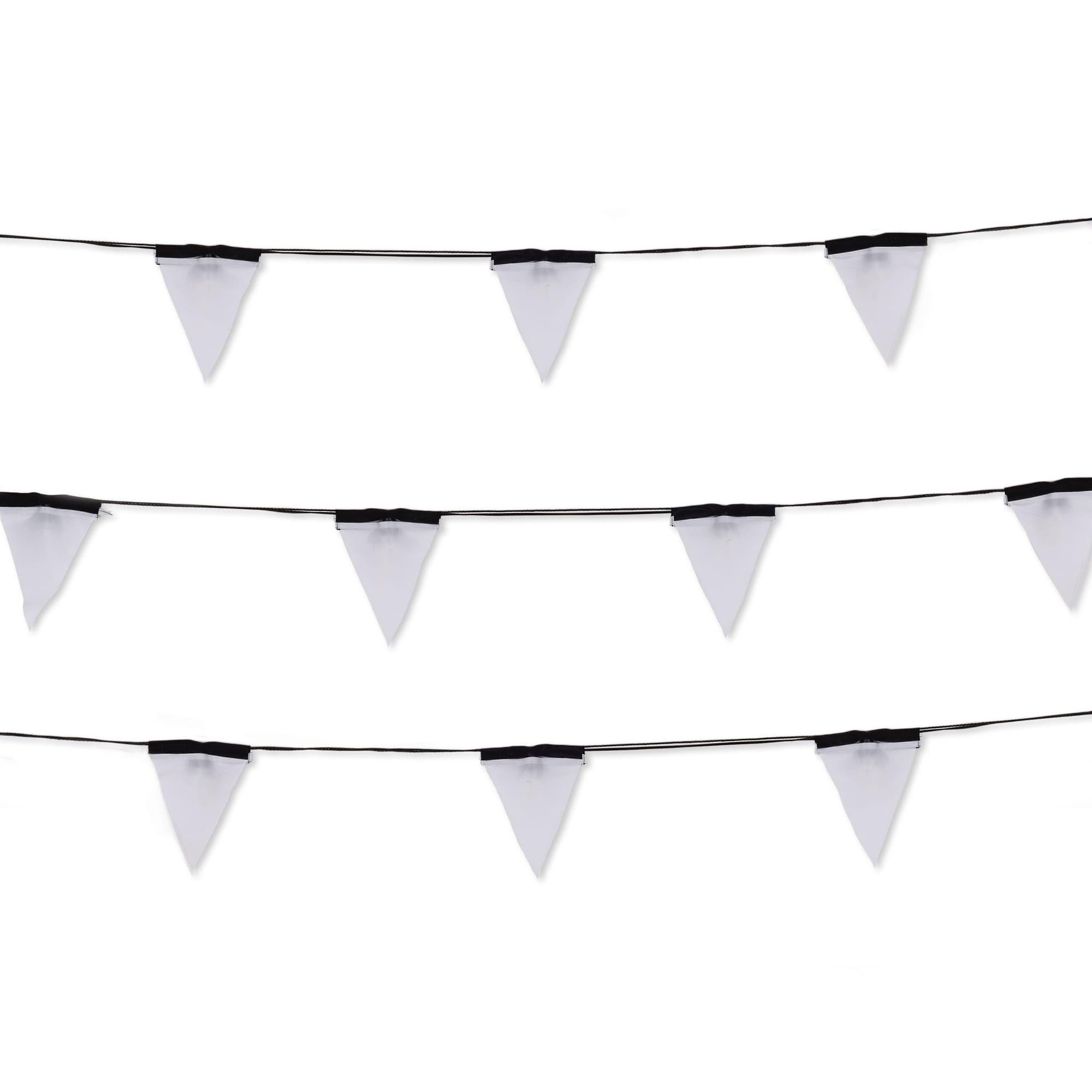 Interni - Per bambini - Ghirlanda luminosa per l'esterno Sagra - LED / 16 bandierine tessuto - Interno & esterno di Seletti - Ghirlanda / Nero & Bianco - policarbonato, PVC, Tessuto poliestere