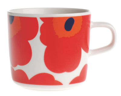 Tischkultur - Tassen und Becher - Unikko Kaffeetasse - Marimekko - Unikko - Weiß & rot - emailliertes Porzellan