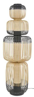 Illuminazione - Lampade da terra - Lampada a stelo Totem Bamboo Light - / 4 paralumi - H 138  cm di Forestier - H 138 cm / Nero & naturale - Bambù, Tessuto