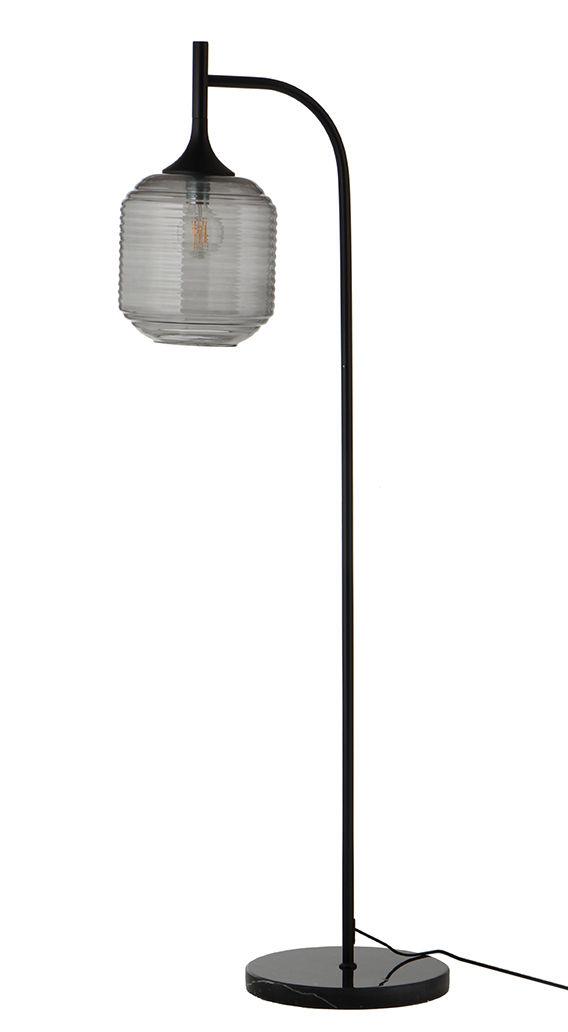 Luminaire - Lampadaires - Lampadaire Honey / Marbre & verre - Frandsen - Gris fumé / Noir - Bois d'hévéa, Marbre, Métal peint, Verre rainuré