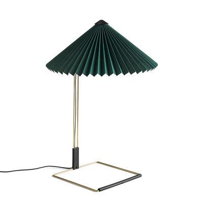Lampe de table Matin Large / LED - H 52 cm - Tissu & métal - Hay vert,laiton poli en métal