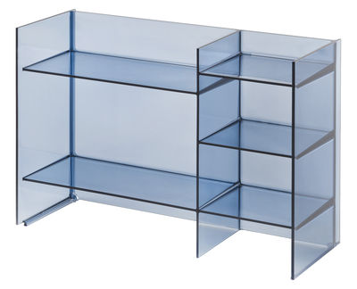 Mobilier - Etagères & bibliothèques - Meuble de rangement Sound-Rack / L 75 x H 53 cm - Kartell - Bleu crépuscule - PMMA