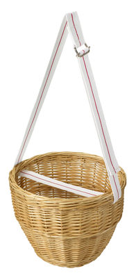 Outdoor - Déco et accessoires - Panier I Perfetti / Pour pique-nique - Avec sangle - Variopinte - Sangle blanche / Osier - Coton, Osier