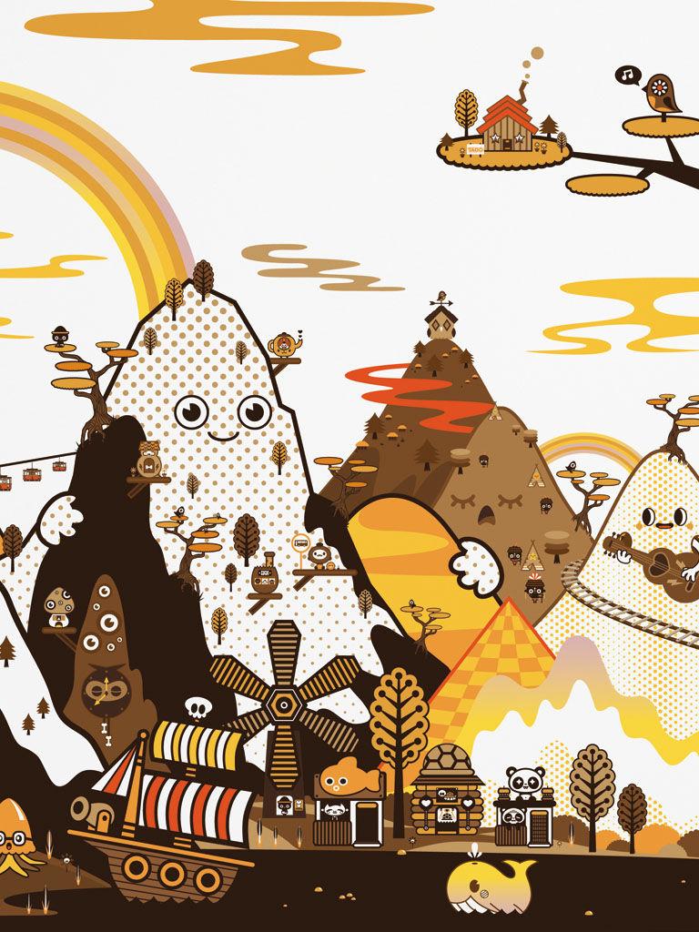Dekoration - Stickers und Tapeten - Banoffee Peaks Spring Panorama-Tapete 8 Bahnen - Domestic - Grün - imprägniertes Papier