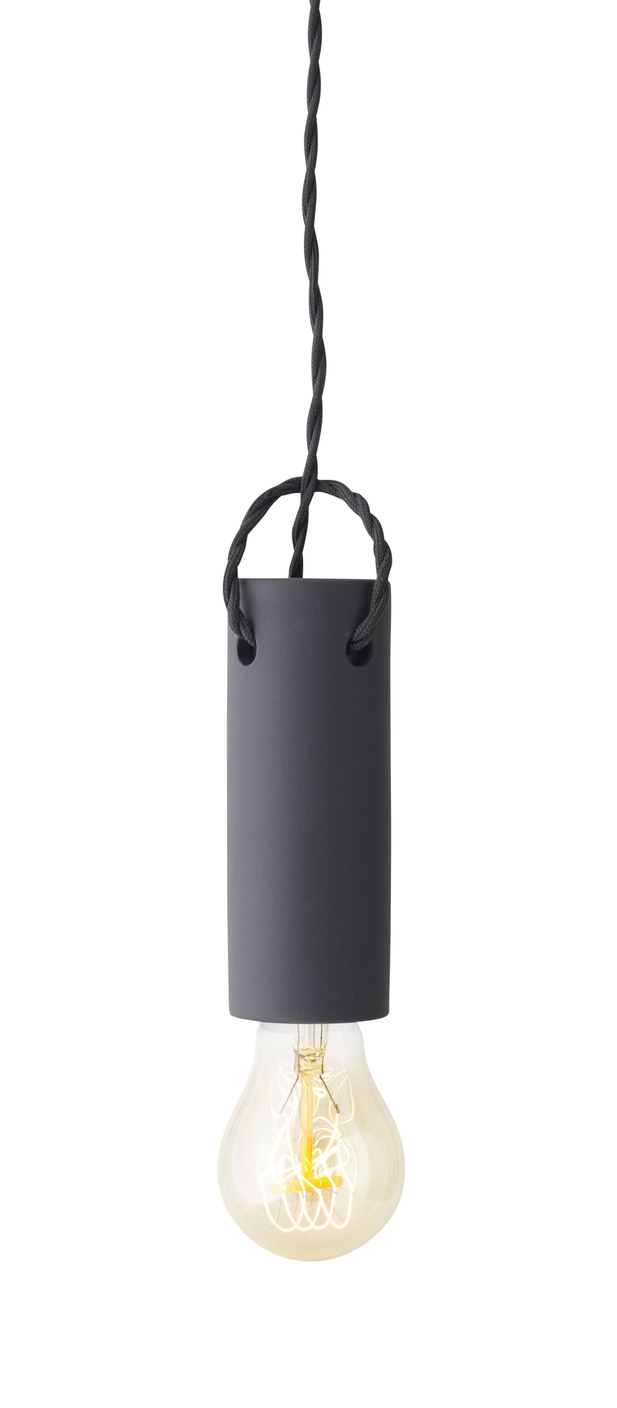 Leuchten - Pendelleuchten - Tied Pendelleuchte / Keramik und Textilkabel - H 13 cm - Menu - Anthrazit - Gewebe, Keramik