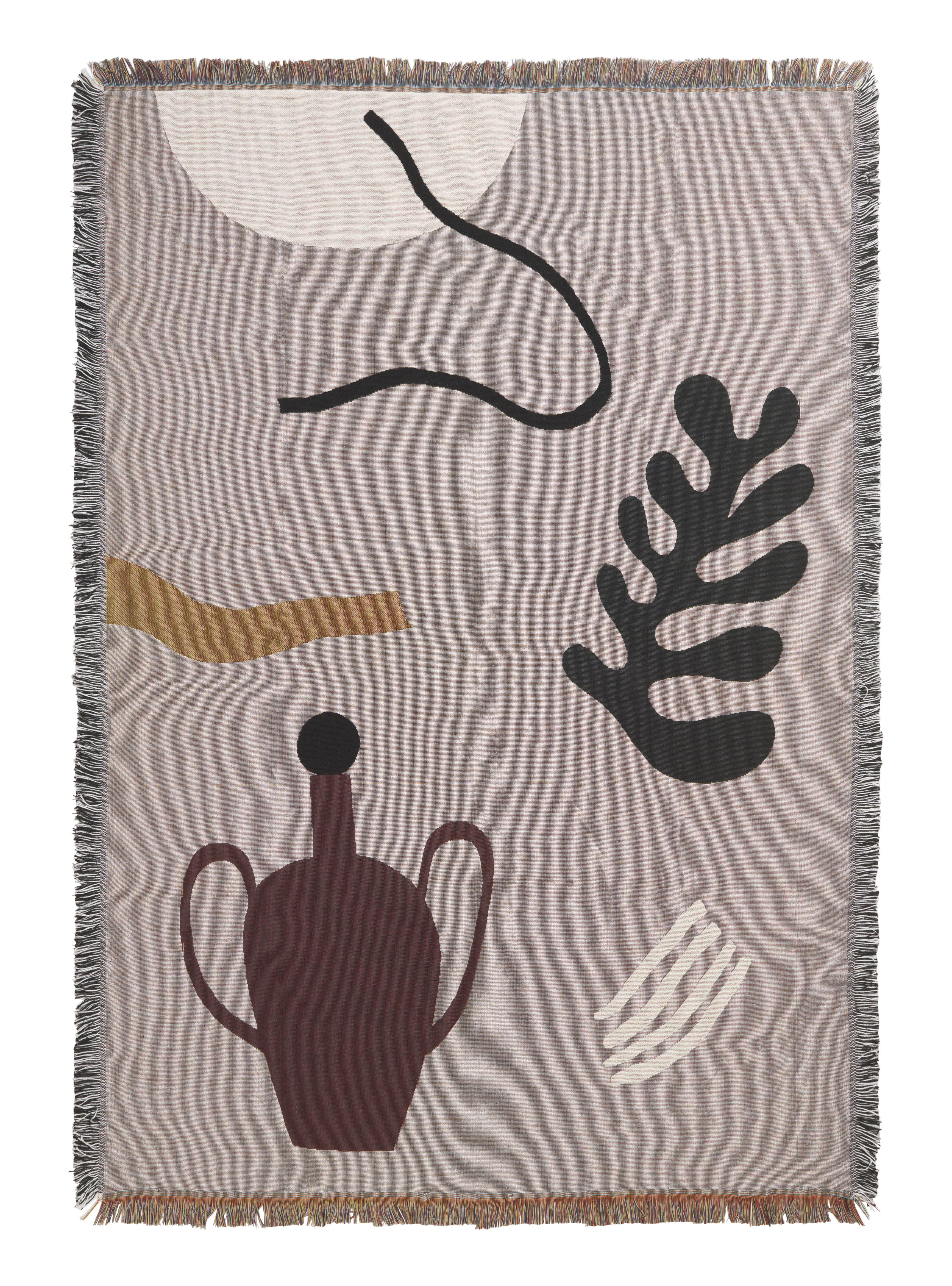 Dekoration - Wohntextilien - Mirage Plaid / 120 x 170 cm - Ferm Living - Grau / mehrfarbig - Baumwolle