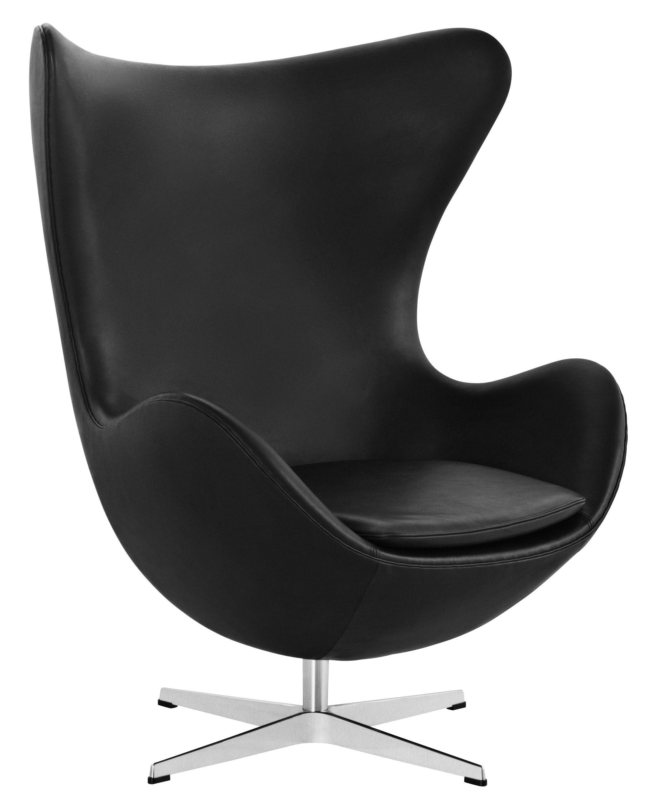 Arredamento - Poltrone design  - Poltrona girevole Egg chair - pelle di Fritz Hansen - Pelle nera - Alluminio lucido, Fibra di vetro, Pelle pieno fiore, Schiuma di poliuretano