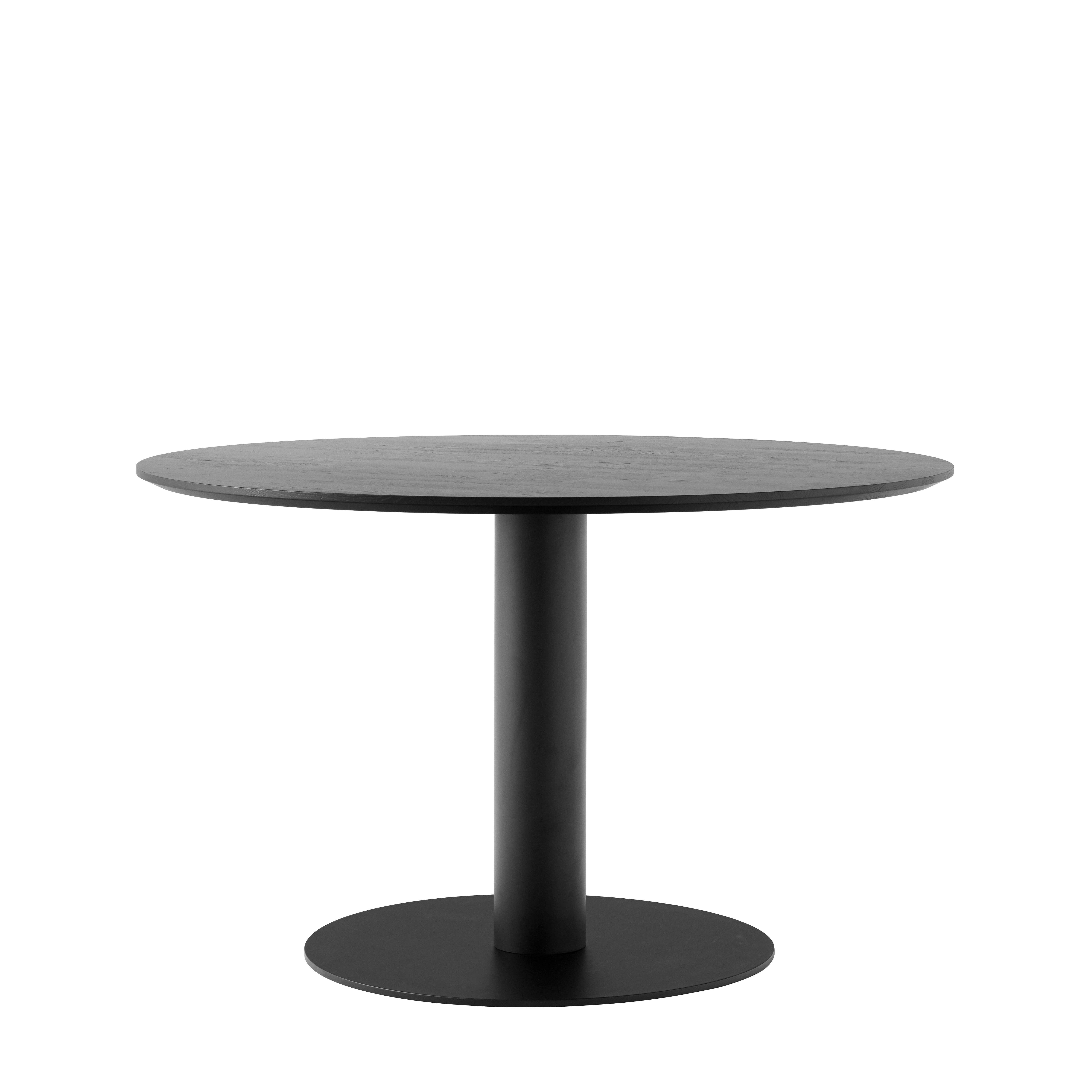 Furniture - Dining Tables - In Between SK12 Round table - / Central leg - Ø 120 - Oak by &tradition - Black stained oak / Black leg - Metal, Tinted oak wood