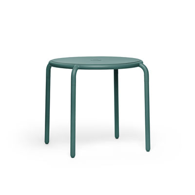 Outdoor - Garden Tables - Toní Bistreau Round table - / Ø 80 cm - Parasol hole + removable candle holder by Fatboy - Fir-tree green - Powder-coated aluminium