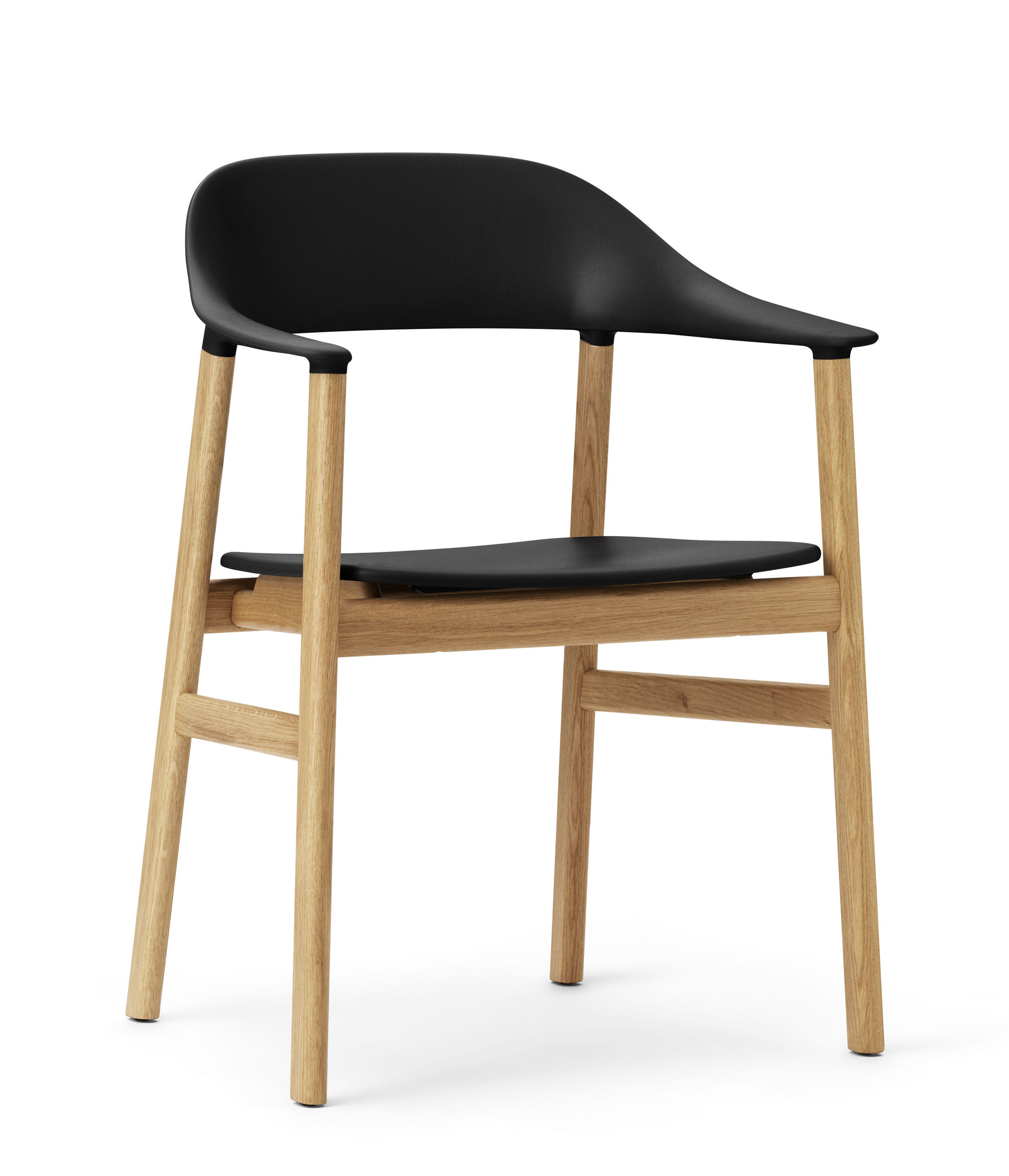 Möbel - Lounge Sessel - Herit Sessel / Stuhlbeine aus Eiche - Normann Copenhagen - Schwarz / Eiche - Eiche, Polypropylen