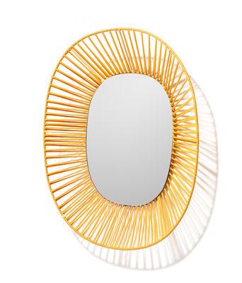 Image of Specchio Cesta - Ovale / 47 x 54 cm di ames - Giallo - Materiale plastico