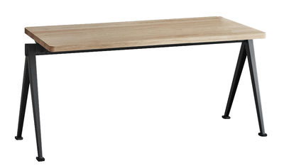 Furniture - Benches - Pyramid 11 Stackable bench - / L 85 cm - Re-issue of 1959 by Hay - L 85 cm / Light oak & black - Lacquered steel, Oak