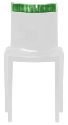 Furniture - Chairs - Hi Cut Stacking chair - White polycarbonate by Kartell - Lacquered white / green - Polycarbonate