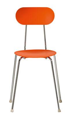 Möbel - Stühle  - Mariolina Stapelbarer Stuhl von Enzo Mari - Kunststoff & Füße aus Metall - Magis - Orange / Fußgestell chromglänzend - Polypropylen, verchromter Stahl