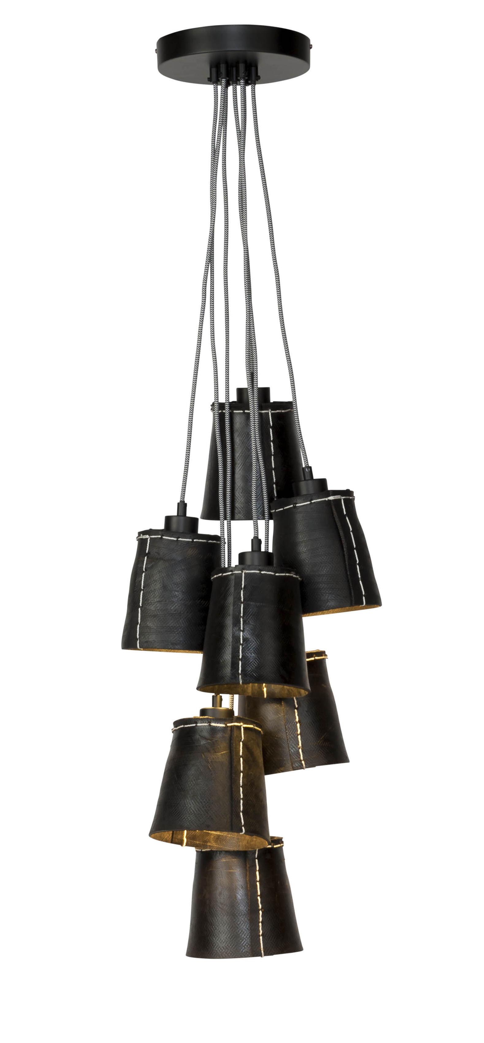 Luminaire - Suspensions - Suspension Amazon / 7 abat-jours - Pneu recyclé - GOOD&MOJO - Noir - Pneu recyclé