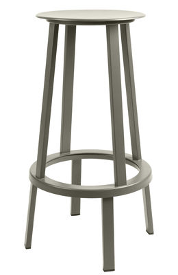 Furniture - Bar Stools - Revolver Swivel bar stool - H 75 cm - Metal by Hay - Grey - Steel xith epowy paint