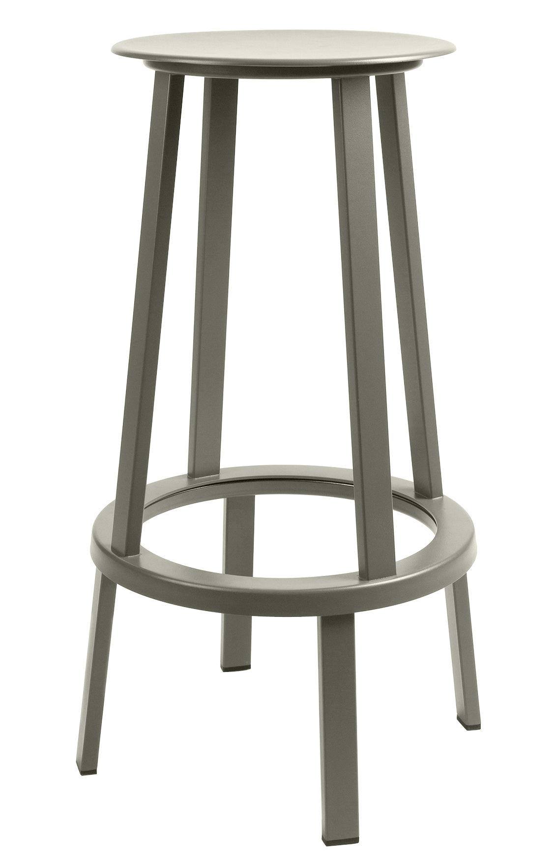 Furniture - Bar Stools - Revolver Swivel bar stool - H 75 cm - Metal by Hay - Grey - Steel xith epowy paint