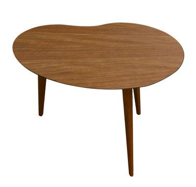 Mobilier - Tables basses - Table basse Lalinde Haricot / Small - L 63 cm - Sentou Edition - Teck / Pieds chêne - Chêne massif, MDF plaqué teck