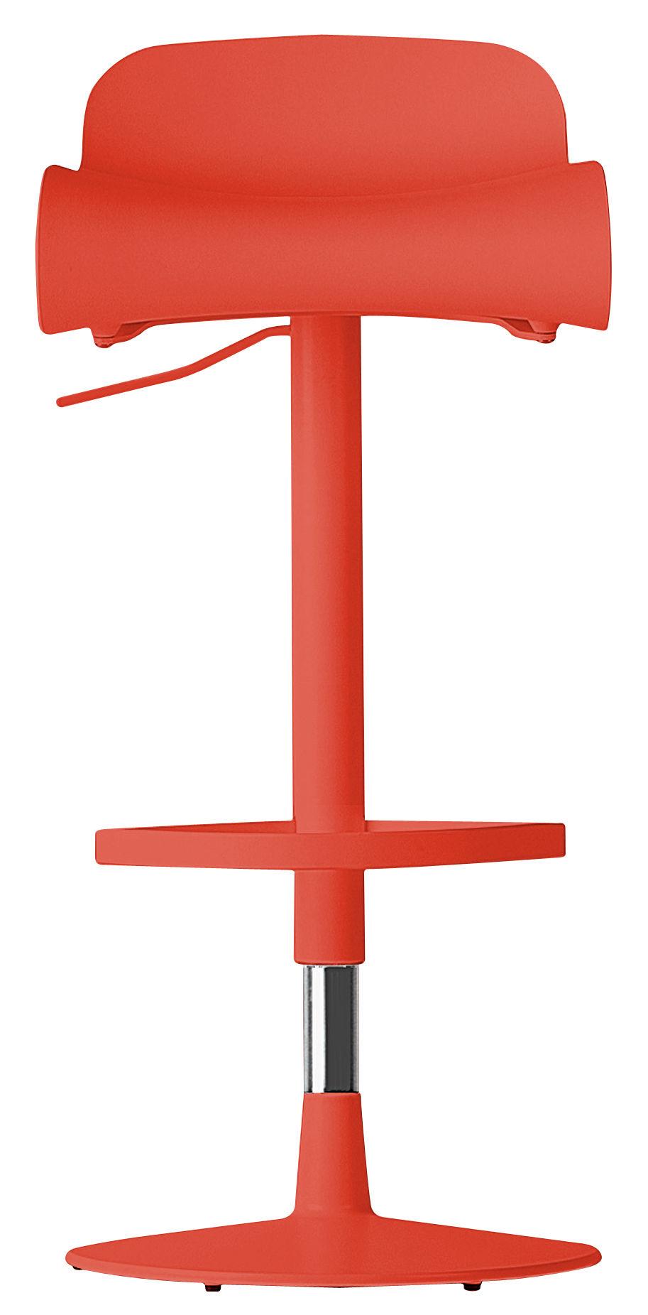 Mobilier - Tabourets de bar - Tabouret haut pivotant BCN / H 67 à 81 cm - Kristalia - Corail - Acier, Matériau plastique