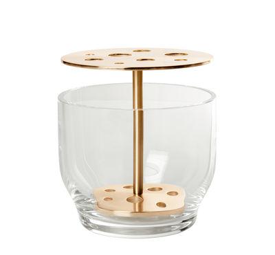 Decoration - Vases - Ikebana Small Vase - Glass & brass - H 13 cm by Fritz Hansen - Small / Brass - Brass, Mouth blown glass