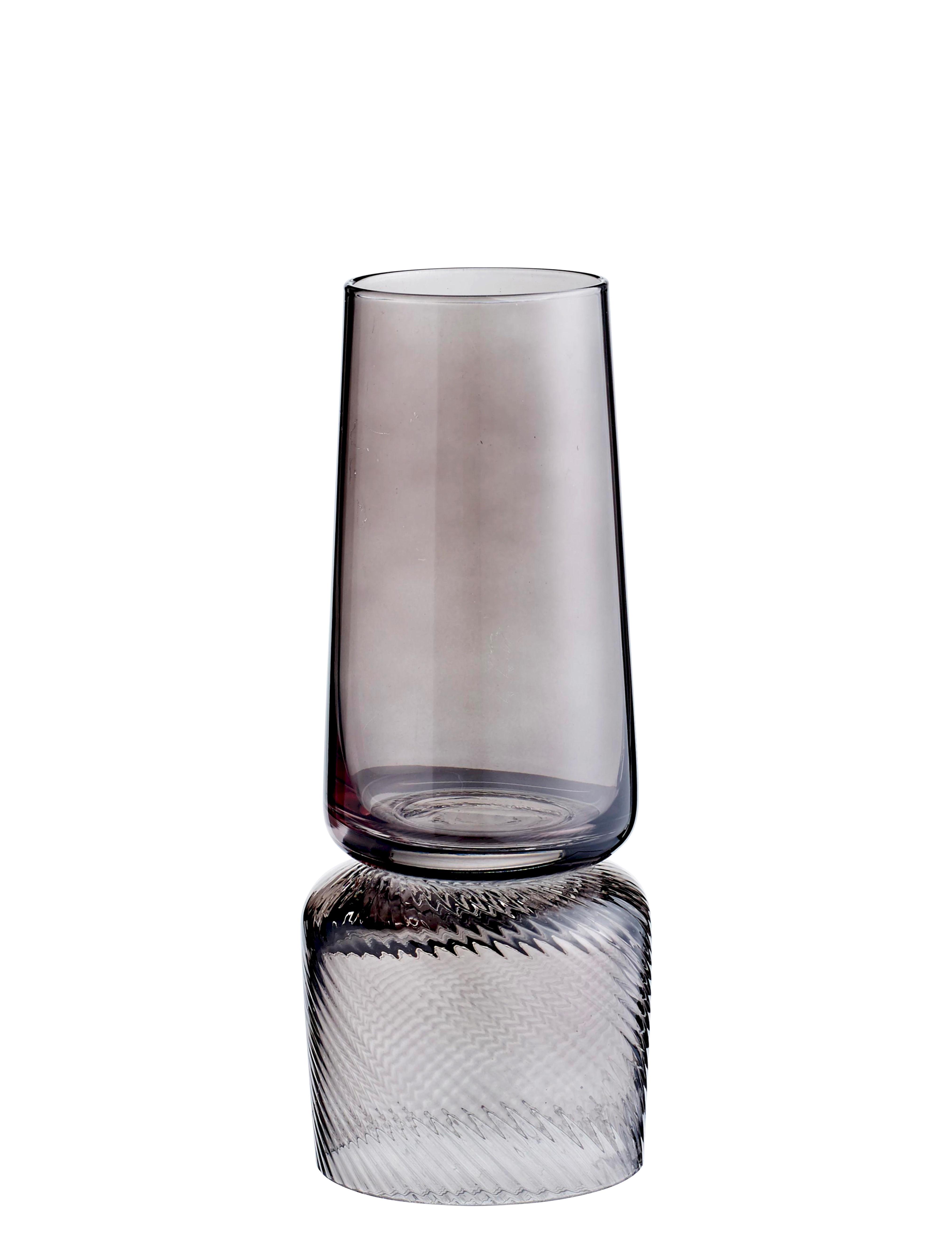 Interni - Vasi - Vaso Doppio - / Portacandela - Reversibile di Bolia - Grigio fumé - Vetro colorato