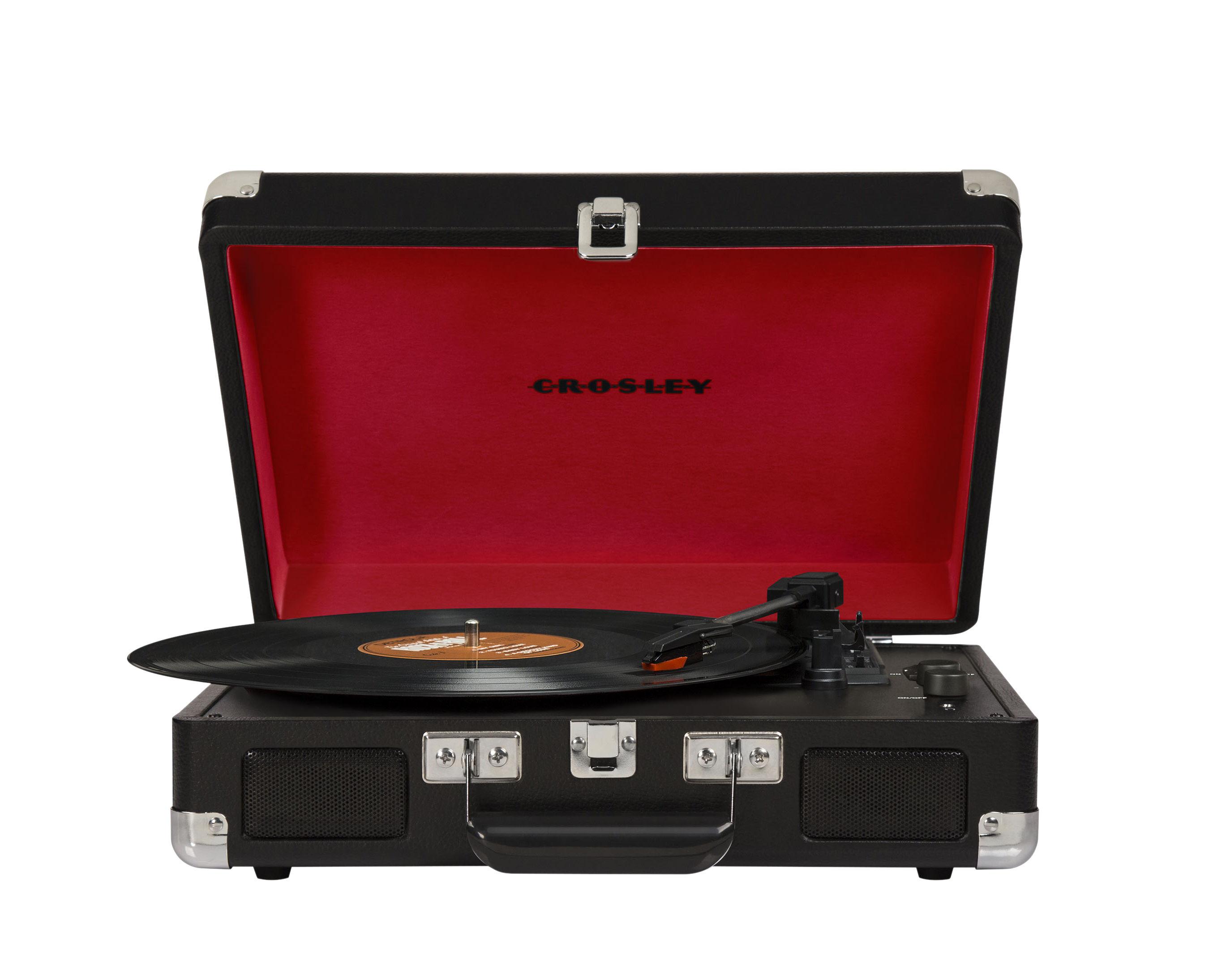 Valentinstag - Valentinstag: Unsere Geschenkideen für Ihn - Cruiser Deluxe Vinyl-Schallplatte / tragbar - mit Bluetooth - integrierte Stereolautsprecher - Crosley - Schwarz - Filz, Holz, Kunstleder, Plastikmaterial