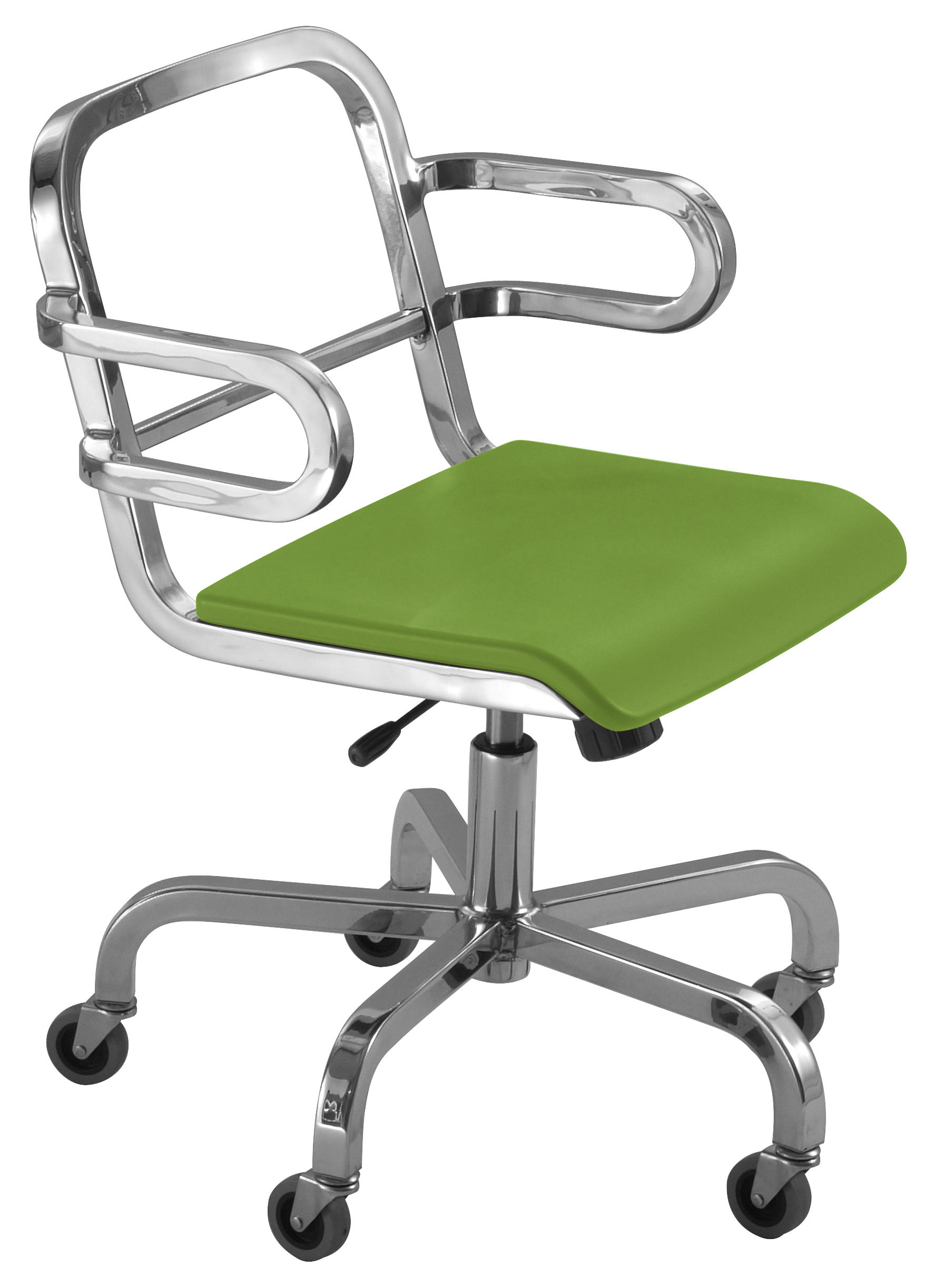 Furniture - Teen furniture - Nine-O Armchair on casters by Emeco - Brushed aluminium / Green - Aluminium recyclé, Polyurethane