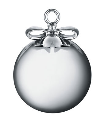 Decoration - Home Accessories - Dressed for X-mas Bauble - H 12,5 cm - Blown glass & Bone China by Alessi - Silver / Bauble - Coloured blown glass, Painted porcelain