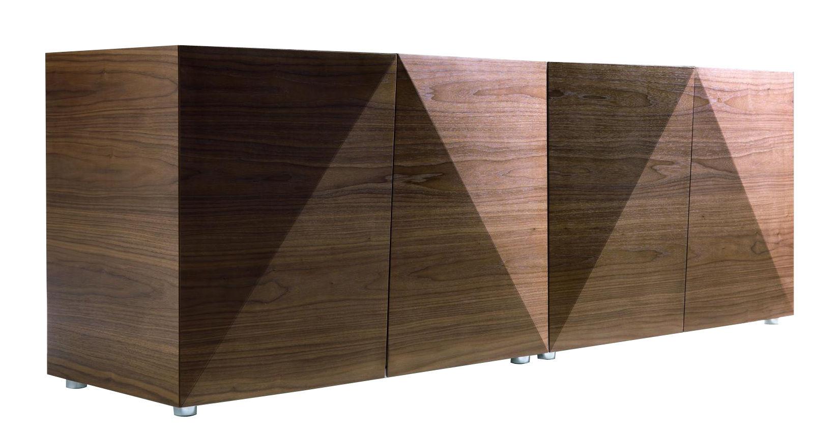 Mobilier - Commodes, buffets & armoires - Buffet Not Riddled / L 192 x H 66 cm - Horm - Noyer & blanc - Matériau composite, Mélaminé laqué, Noyer