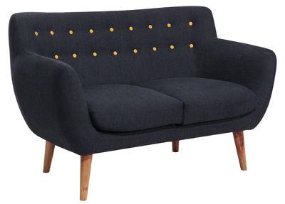 Canapé droit Coogee / 2 places - L 132 cm - Sentou Edition noir,jaune citron en tissu