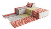 Canapé modulable n° 2 Bandas 1 tapis 2 poufs Large 1 méridienne Gan jaune,orange,gris en tissu