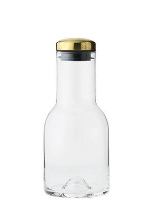 Tavola - Caraffe e Decantatori - Caraffa Water Bottle / 0,5 L - Tappo ottone - Menu - Tappo ottone / Trasparente - Ottone, Silicone, Vetro