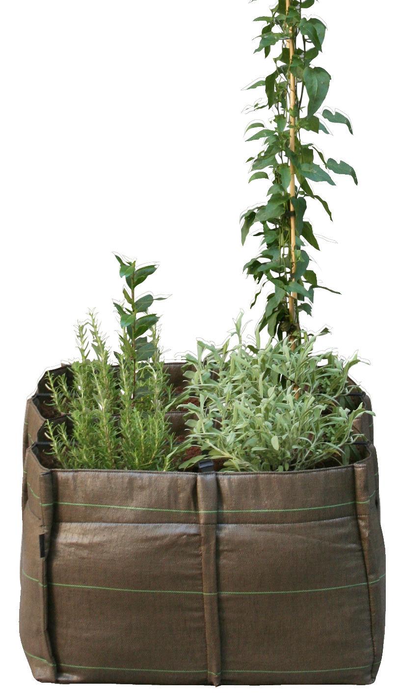 Outdoor - Pots et plantes - Carré potager BacSquare 4 / Geotextile Outdoor - 140 L - Bacsac - 4 carrés (140L) / Marron - Toile géotextile