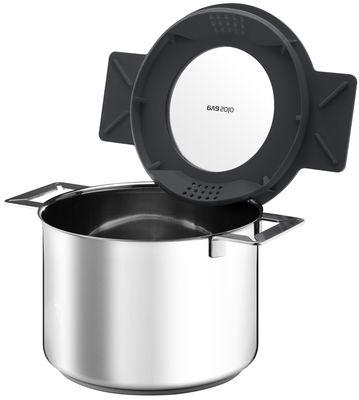 Cucina - Pentole, Padelle e Casseruole - Casseruola Gravity - 4L con coperchio in silicone di Eva Solo - Grigio - Acciaio inossidabile, Silicone