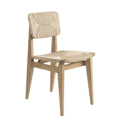 Mobilier - Chaises, fauteuils de salle à manger - Chaise C-Chair / Corde de papier - Réédition 1947 - Gubi - Corde naturelle / Chêne - Chêne massif, Contreplaqué de chêne, Corde de papier