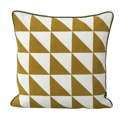 Déco - Coussins - Coussin Large Geometry / coton - 50 x 50 cm - Ferm Living - Jaune & blanc - Coton