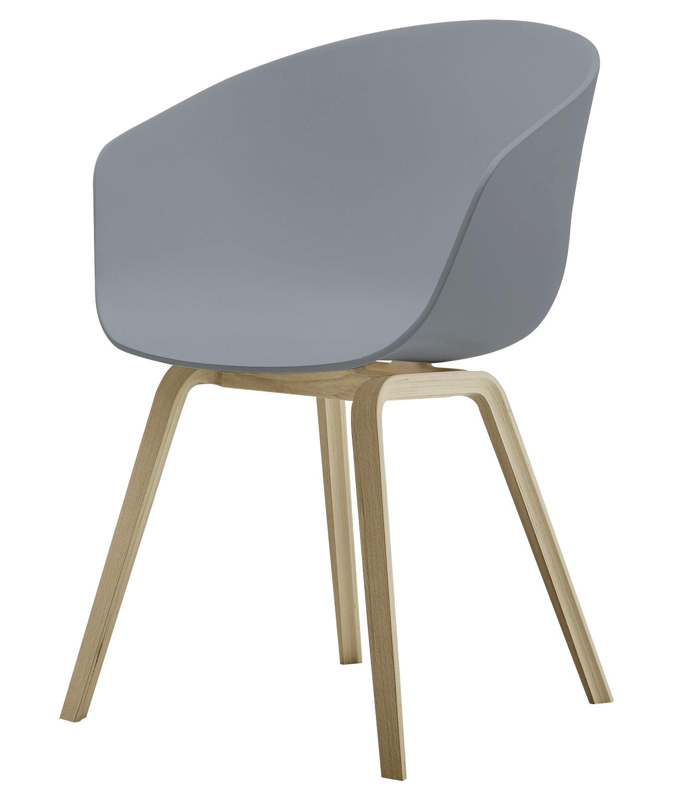 Mobilier - Chaises, fauteuils de salle à manger - Fauteuil About a chair AAC22 / Plastique & pieds bois - Hay - Gris / Pieds bois naturel - Chêne naturel, Polypropylène