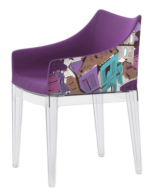 Möbel - Stühle  - Madame Gepolsterter Sessel / von Emilio Pucci - Kartell - Rom - violett / Stuhlbeine transparent - Baumwolle, Polykarbonat, Polyurhethan