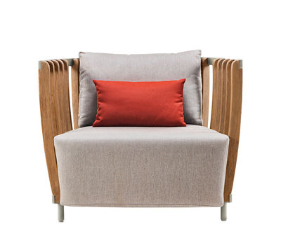 Möbel - Lounge Sessel - Swing Lounge Gepolsterter Sessel / Teakholz & Aluminium - Ethimo - Weiß & Teakholz / Stoff grau - lackiertes Aluminium, Natürliches Teakholz, Polyacryl-Gewebe, Schaumstoff