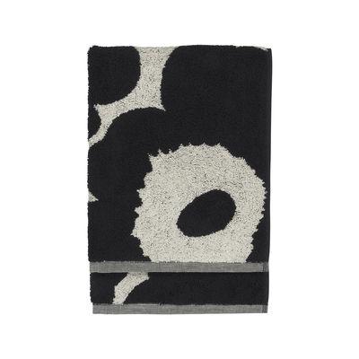 Accessories - Bathroom Accessories - Unikko Hand towel - / 50 x 70 cm by Marimekko - Unikko / Beige cotton & dark blue - Cotton, Linen