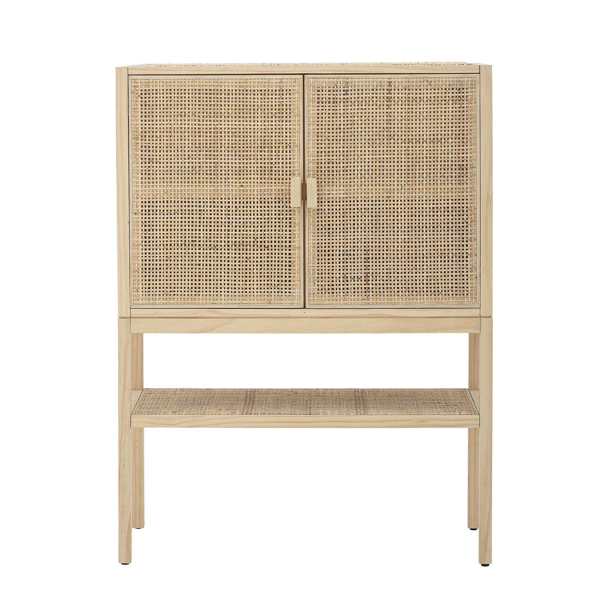 Möbel - Regale und Bücherregale - Sanna Highboard / L 90 x H 120 cm - Cannage rotin - Bloomingville - Naturel - Holzfaserplatte, Kiefernfurnier, Rattan