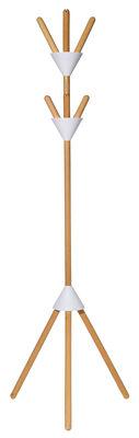 Möbel - Garderoben und Kleiderhaken - Pierrot Kleiderständer mit Fuß / H 170 cm - Alessi - Weiß / holzfarben - Holz, thermoplastisches Harz