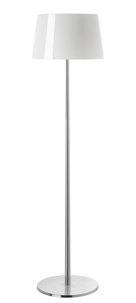 Luminaire - Lampadaires - Lampadaire Lumière XXL / H 144 cm - Foscarini - Blanc / Pied aluminium - Aluminium poli, Verre soufflé