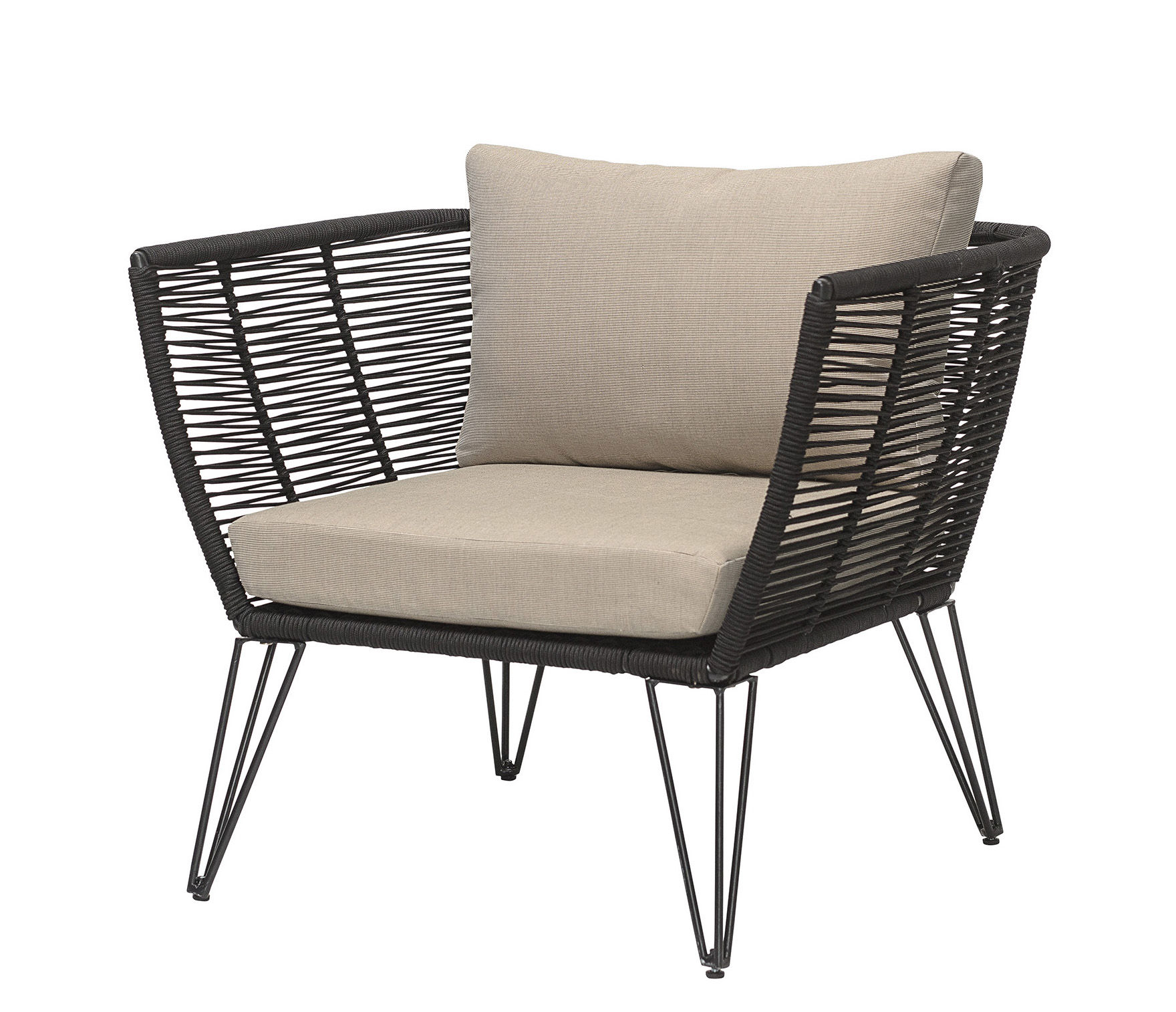 Bloomingville Metal Padded armchair - Black/Beige | Made ...