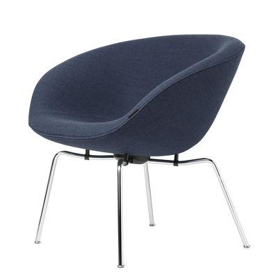 Furniture - Armchairs - Pot Padded armchair - / FH 6001 fabric by Fritz Hansen - Blue / Chromed - Chromed steel, Fabric, Foam